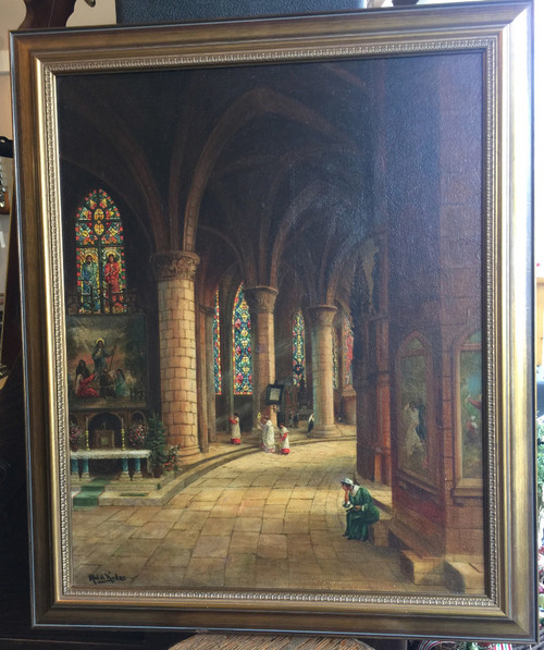 """Antique Oil Painting Abdel Kader Chartres France """"Cathedral Interieur"""" Christian"""