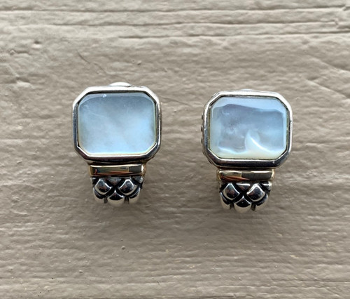 Vintage Lagos Style 14k Gold Sterling Silver Mother Of Pearl Earrings