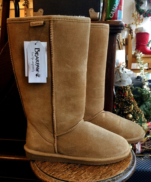Bearpaw Emma Tall Suede Boots, Sheepskin/ Wool Lining, HickoryTan10M, New WO Box