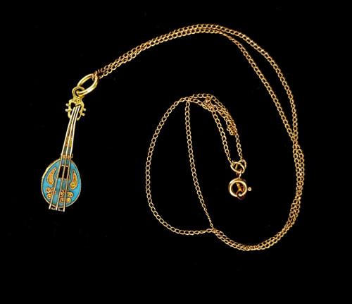 """Vintage Russian 14k Gold Blue Enamel Lute Instrument Pendant Necklace 16"""""""