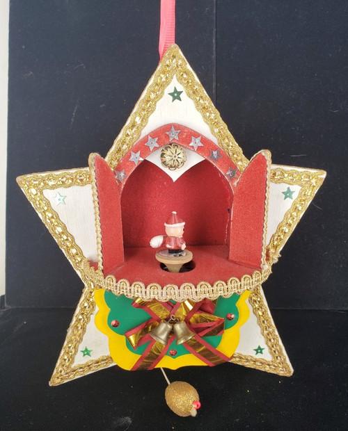 Vintage Christmas Wooden Star Spinning Santa Silent Night  Music Box Mid-Century