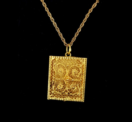 Antique 18k Gold Middle Eastern Persian Filigree Square Locket Necklace 18""