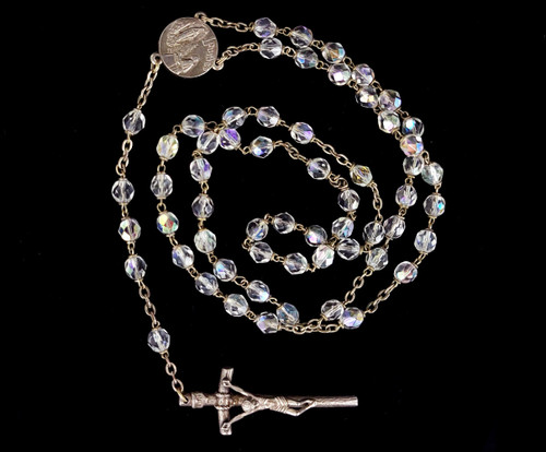 Antique Deco Lourdes Sterling Silver Aurora Borealis Glass Crystal Rosary Beads