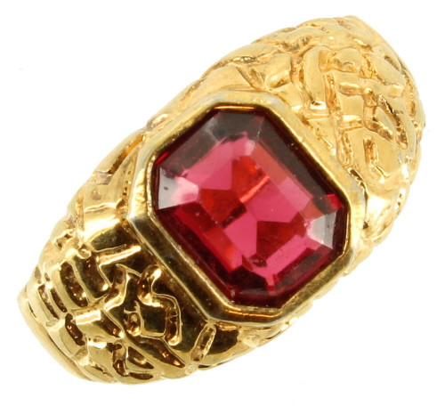 Vintage Signet Organic Faceted Red Stone Unisex Large Gold Plate Ring Size 13