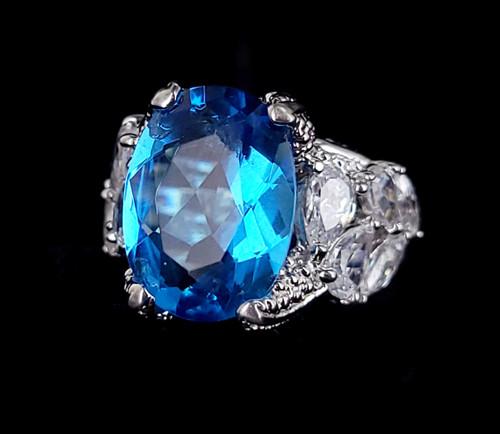 Vintage Sterling Silver Uncas Blue and Clear Rock Quartz Floral Ring sz 7.25