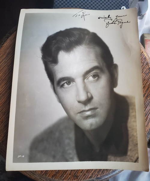 John Payne Vintage Inscribed Autographed 8x10 B&W Photo 1940s Hollywood Signed