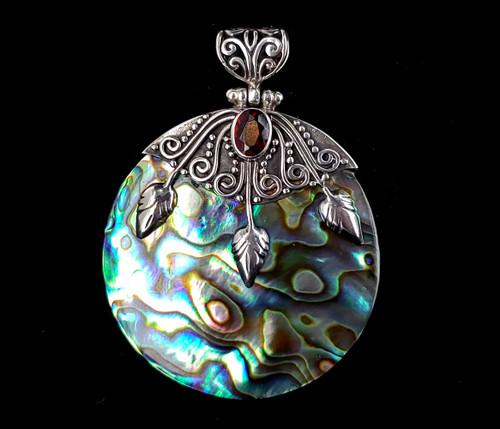 "Vintage Sterling Silver Bali Abalone Shell Onyx Garnet Gemstone Pendant 2"""