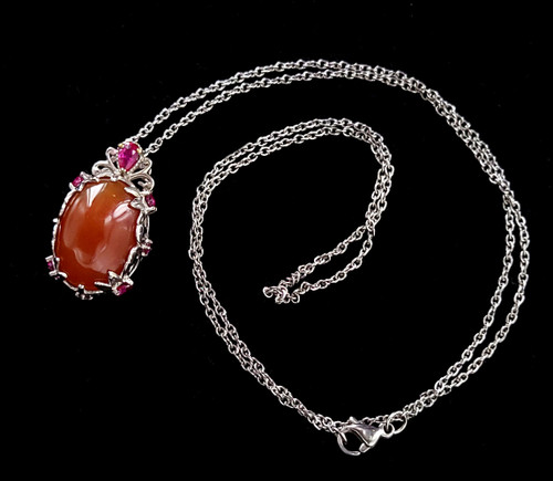 """Vintage Sterling Silver Karis Carnelian Synthetic Ruby Pendant Necklace 20"""""""