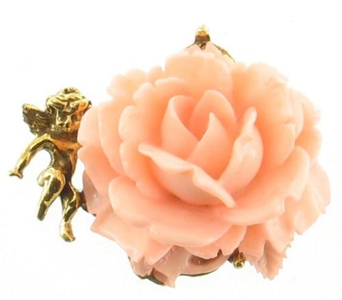"""Vintage Goldette Huge Celluloid Plastic Pink Rose Angel Cherub Pin Gold Tone 2"""""""