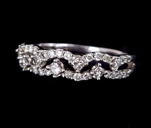 Vintage 10k White Gold .80cttw HIJ VS-SI2 Princess Diamond Pave Band Ring sz 7