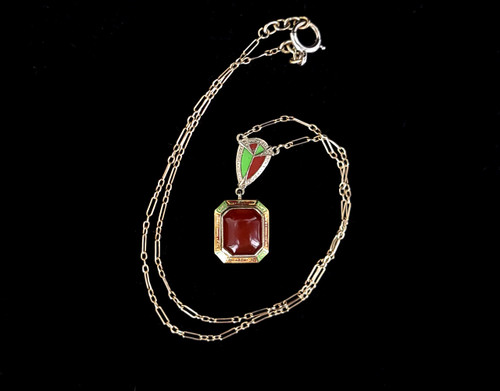 """Antique Deco 14k White Yellow Gold Carnelian Red Green Enamel Stunning Necklace 16"""""""