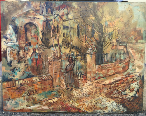 Vintage MCM Oil Painting Abstract realism Cityscape Estate-Forrest Cooper Listed