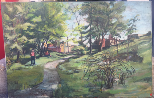 Vintage MCM Oil Painting Abstract Realism Park People Estate-Forrest Cooper Sgnd