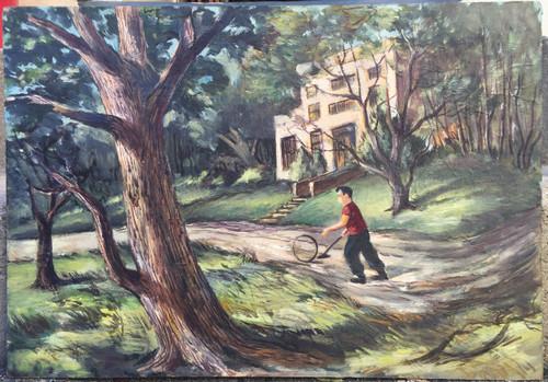 Vintage MCM Oil Painting Abstract Realism Playful Boy Estate-Forrest Cooper Sgnd