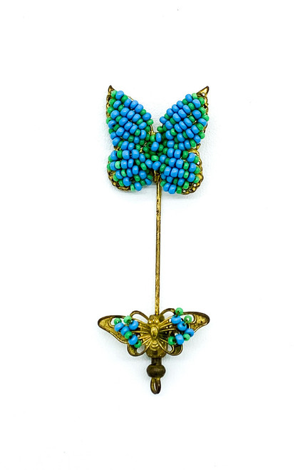 Antique Miriam Haskell Turquoise Blue Seed Bead Butterfly Gold Tone Stick Pin