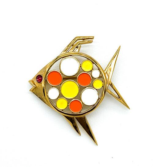 "Vintage Mid Century Trifari Gold Tone Enamel Mod Jelly Belly Fish Pin  2.2""5"