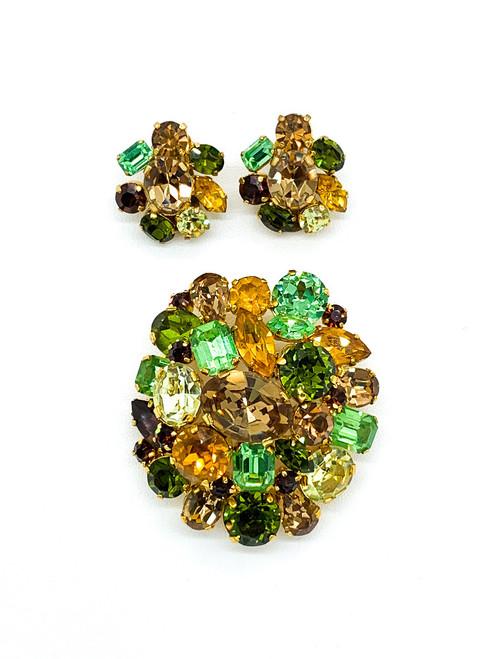 Vintage Austria Mid Century Green Brown Rhinestone Gold Tone Brooch Earrings