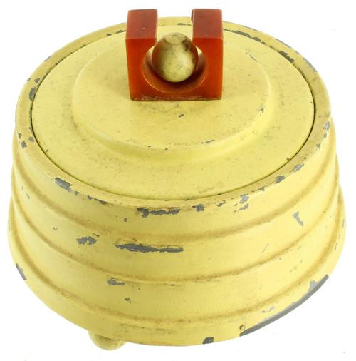 Antique Deco Metal Layered Yellow Jewelry Music Box Mirrored Lid Bakelite Handle
