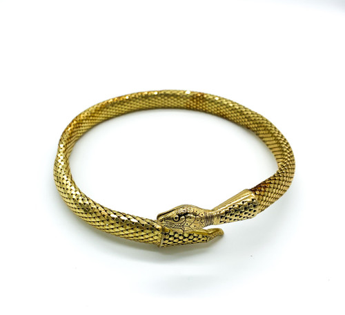 Vintage Whiting & Davis Gold Tone Egyptian Revival Mesh Snake Coil Necklace 15.5
