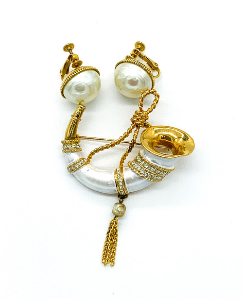 Vintage Mandle White Enamel Shell Rhinestone Cornucopia Horn Brooch Earrings Set