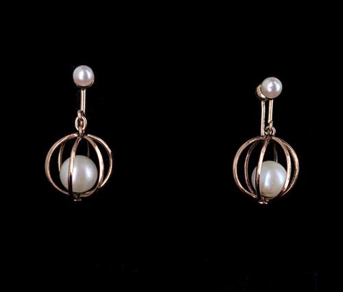 """Antique 10k Yellow Gold European Pearl Drop Dangle Basket Screw Back Earrings 1"""""""