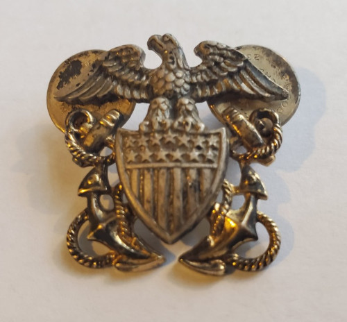 Sterling Silver WW2 USN US Navy Eagle Shield Anchor Pin Brooch Signed AMICO