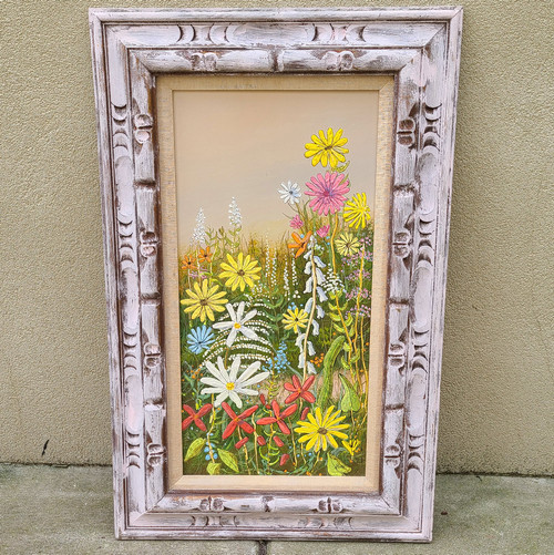 Vintage Oil Painting Abstract Realism Hippie Flower Power Witco Frame Signed 60s