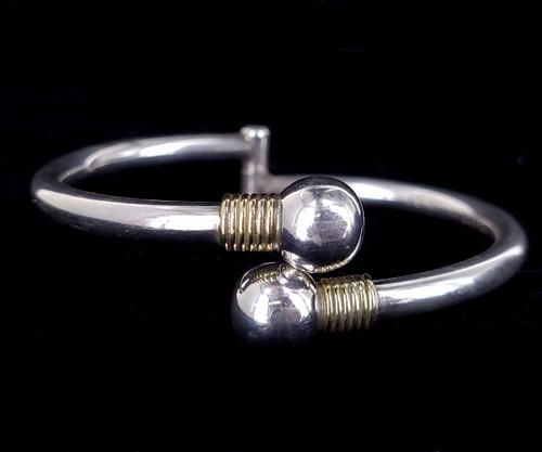 "Vintage Taxco Mexico 10k Sterling Silver Modernist Bypass Bangle Bracelet 7"""
