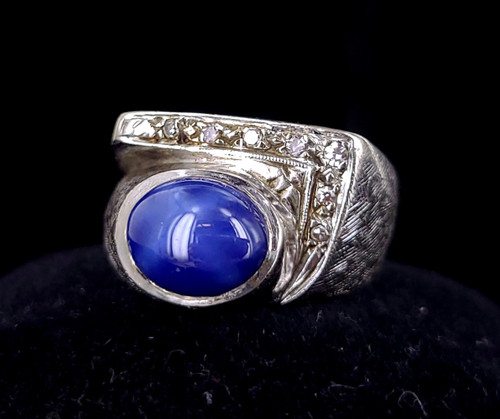 Vintage 14k White Gold Blue Star Sapphire & Diamond Mid Century Ring 7.25