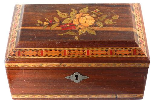 Antique Victorian Oak Tunbridge Floral Inlay Mosaic Boarder Wooden Chest Box