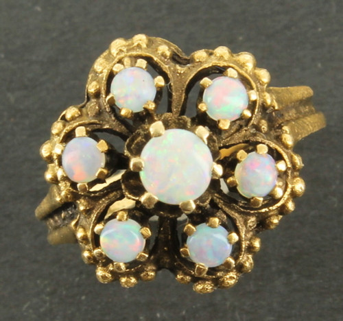 Antique Victorian 14k  Flashy Red Green Blue Australian Opal Ring Size 6.5