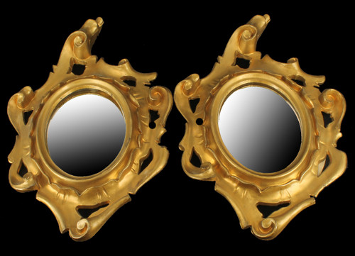 """Vintage 1940's Italian Gold Leaf Wall Hanging Oval Mirror Scrollwork 10"""" Pair"""