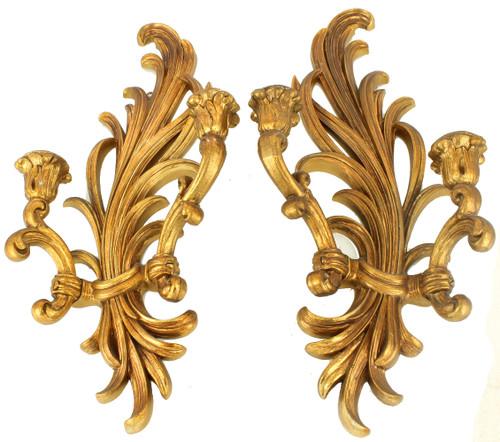 """Vintage Hollywood Regency Mid Century Candlestick Sconces Gold Leaf Syrocco 18"""""""