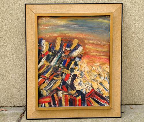 Vintage Mid Century Oil Painting Abstract Impasto Rocks Sea Sky Ocean Waves Red