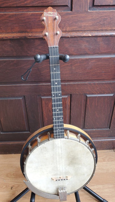 Antique 1930s Sterling Tenor Banjo - New Tailpiece and Bridge - Fully Set Up!