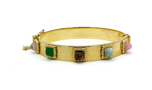 """Vintage Austrian Sugar Loaf Art Glass Gold Tone Clamper Bangle Bracelet 7.5"""""""