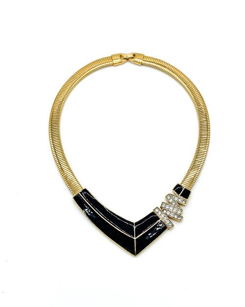 "Vintage Retro 1970 Trifari Black Enamel Rhinestone Gold Tone Collar Necklace 17"""