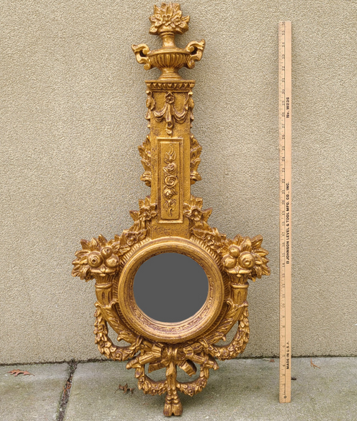 Vintage Louis XIV Style Gilt Bell Flowers Swags Ornate Decorative Slim Mirror