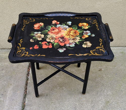 Vintage Hollywood Regency Butlers Serving Tray and Stand- HP Black Wood Flowers