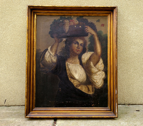 Antique 1700-1800's Oil Painting Romantic Period Peasant Girl Fruit Basket Fruit