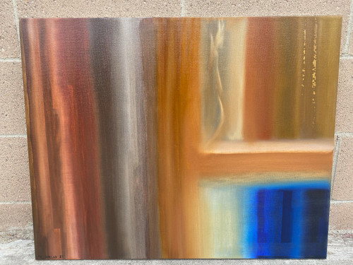 "Abstract Oil Painting ""Window To My Soul"" Dog Dying -Home Office Emerging Artist"