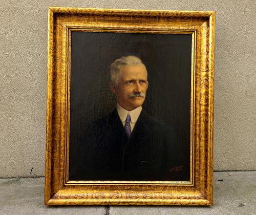 Deco Oil Painting Old Phila, Family Portrait Elegant Gentleman 1930 Maurer