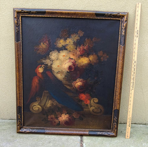 Antique Art Deco French Oil Painting Big Parrot Bird & Flowers In Romantic Urn