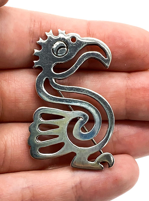 Vintage Taxco Mexico Sterling Silver Aztec Parrot Bird Glyph Pin Brooch