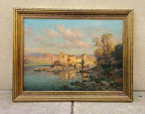 Best Antique French Oil Painting River Bridge Stone Houses Canaletto style Mory