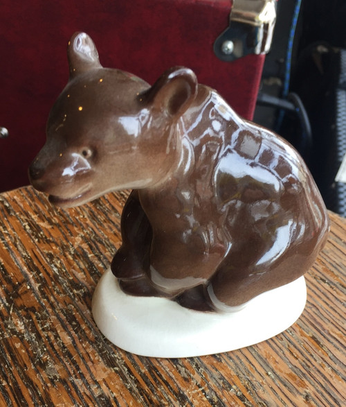 Vintage Russian USSR 1950-1960 LFZ Lomonosov Porcelain Black Brown Bear Figurine
