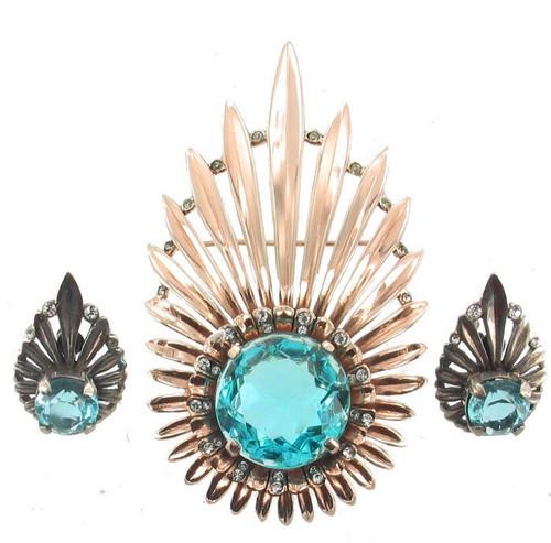 Vintage Sterling Gold Halley's Comet Aqua Crystal Rhinestone Brooch Earring Set