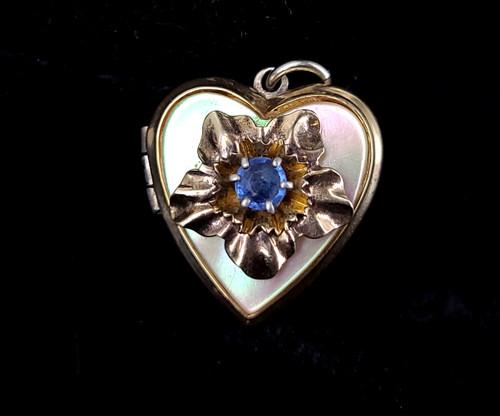 Vintage Deco Sterling Mother of Pearl MOP Blue Paste Floral Heart Locket Pendant