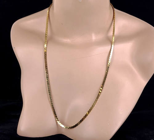 Vintage 14k Yellow Gold Plated 3mm Flat S Chain Disco 70s Necklace 24""