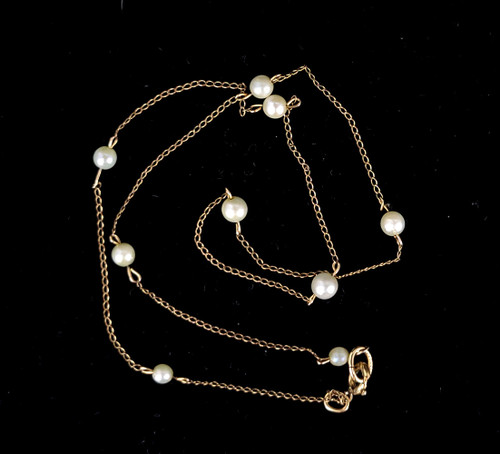 Vintage 12k Gold Filled GF 4mm Cultured Pearl Dainty Station Chain Necklace 15""